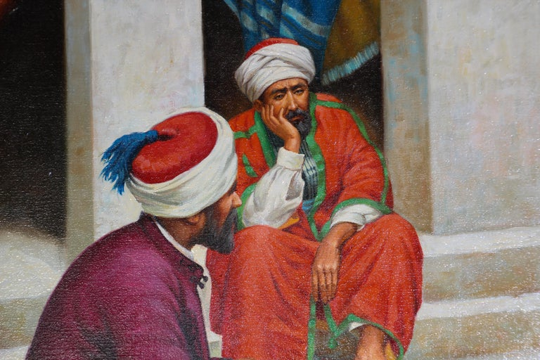 Moroccan Orientalist Oil Painting of a Rug Market For Sale 1