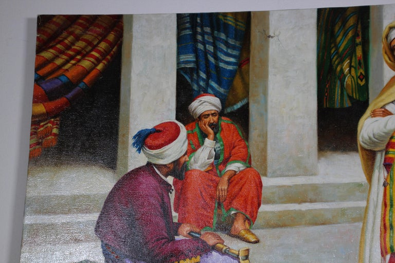 Moroccan Orientalist Oil Painting of a Rug Market For Sale 2
