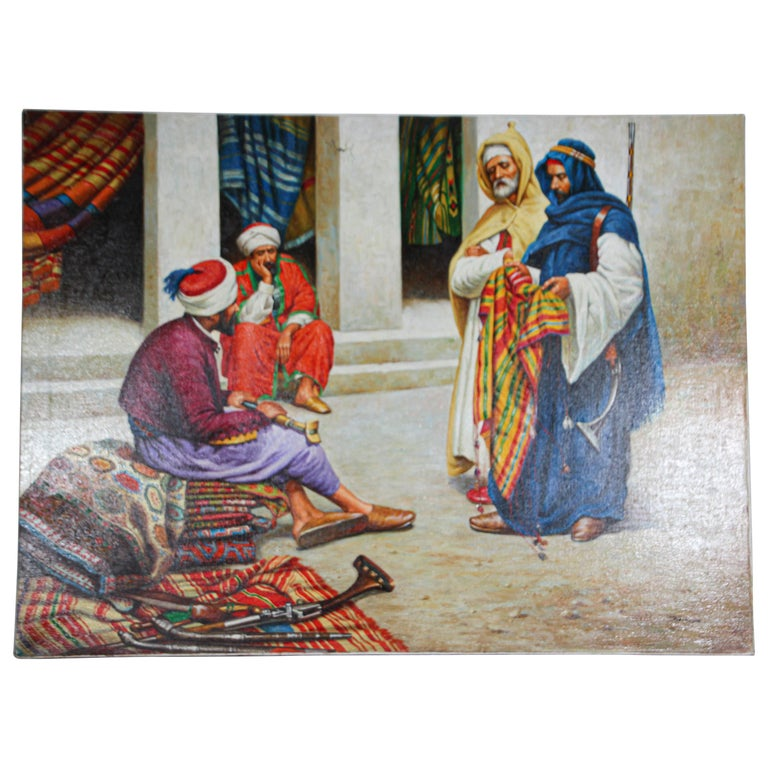 Moroccan Orientalist Oil Painting of a Rug Market For Sale