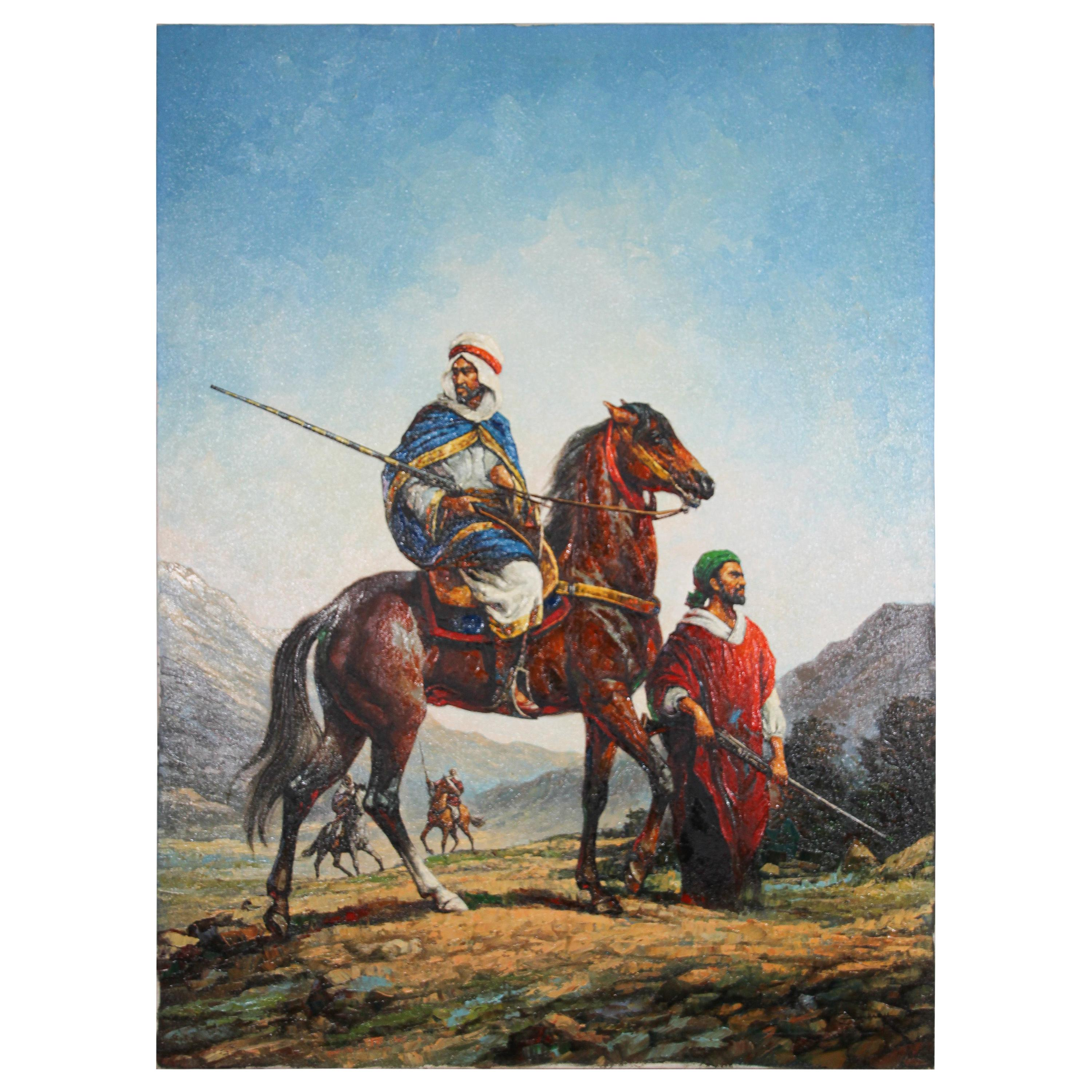 Moroccan Orientalist Oil Painting of Men on Horses