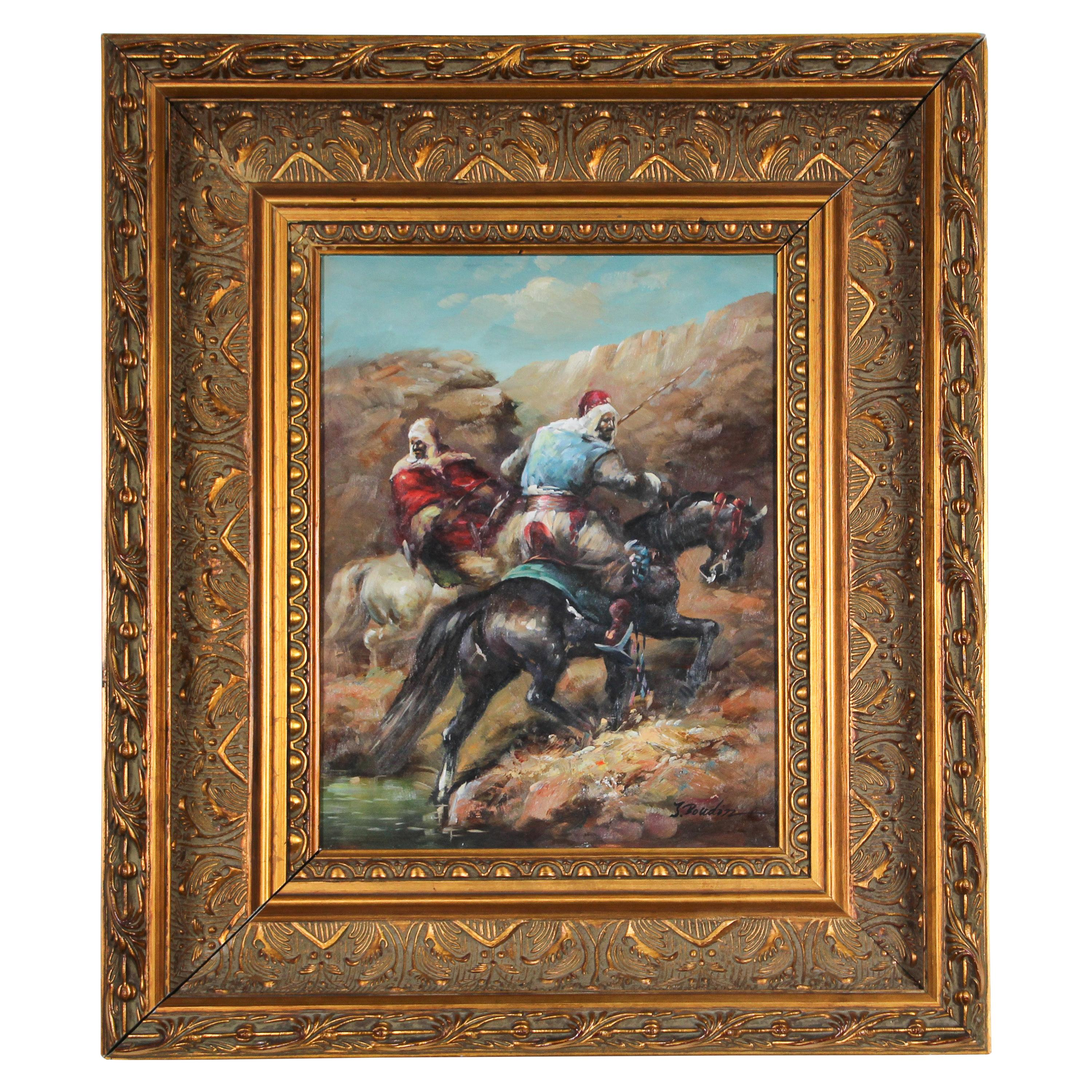 Moorish Orientalist Oil Painting of Men on Horses Framed