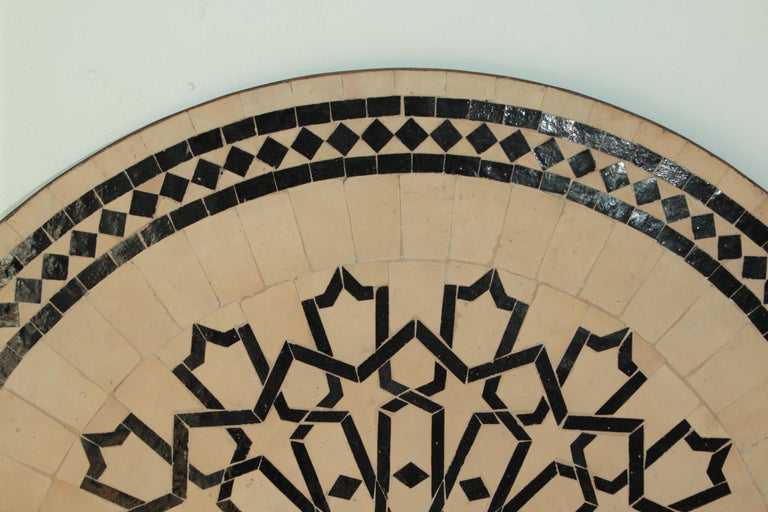 Moroccan Outdoor Round Mosaic Tile Dining Table on Iron Base 47 in. For Sale 5