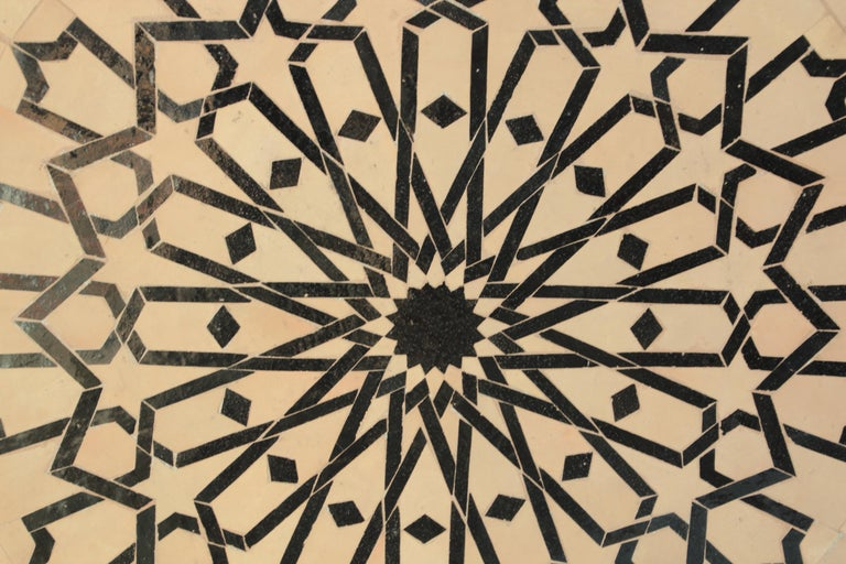 Moroccan Outdoor Round Mosaic Tile Dining Table on Iron Base 47 in. For Sale 6