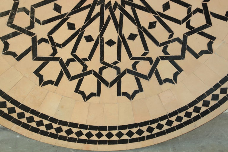 Moroccan Outdoor Round Mosaic Tile Dining Table on Iron Base 47 in. For Sale 7