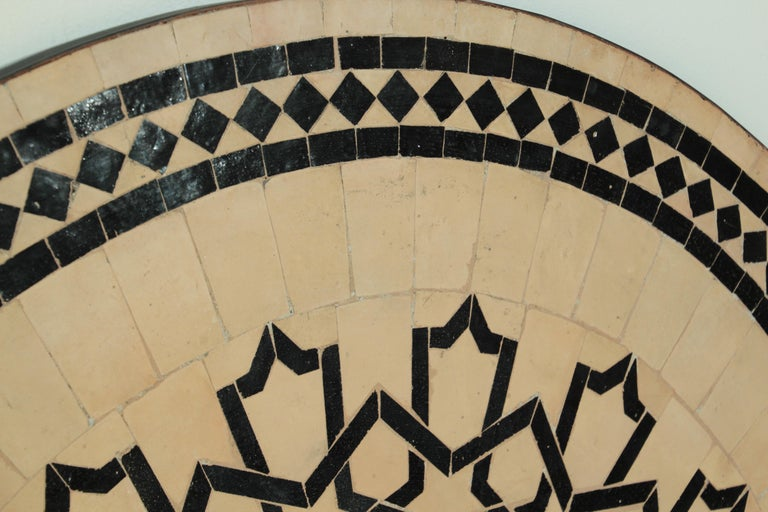 Moroccan Outdoor Round Mosaic Tile Dining Table on Iron Base 47 in. For Sale 9