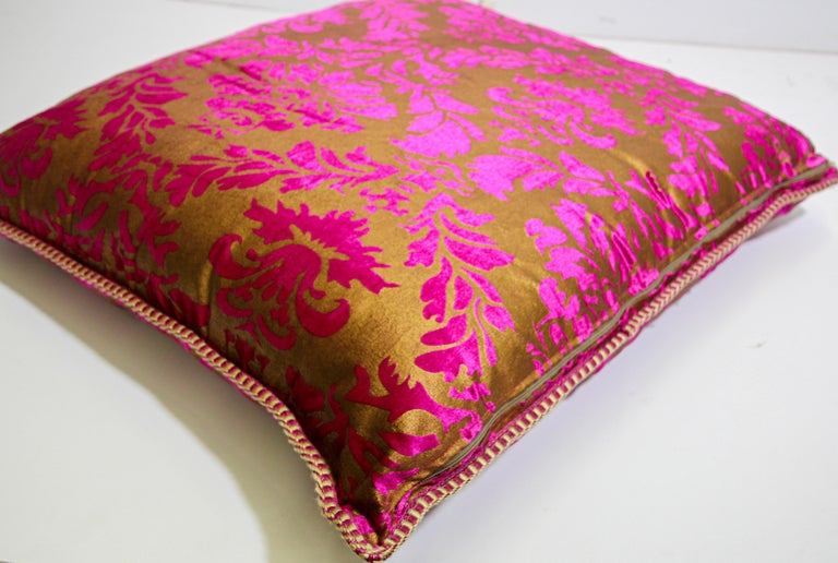 Moroccan Oversized Pink and Gold Floor Pillow Cushion For Sale 3