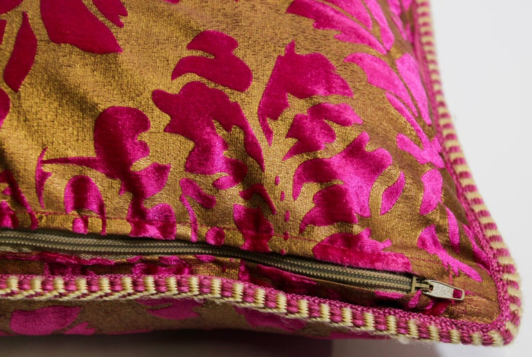 Moroccan Oversized Pink and Gold Floor Pillow Cushion For Sale 4