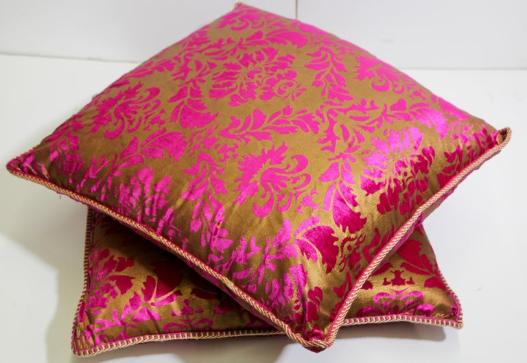 Moroccan Oversized Pink and Gold Floor Pillow Cushion For Sale 6