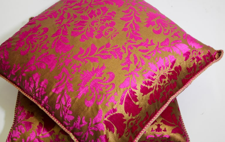 Moroccan Oversized Pink and Gold Floor Pillow Cushion For Sale 7