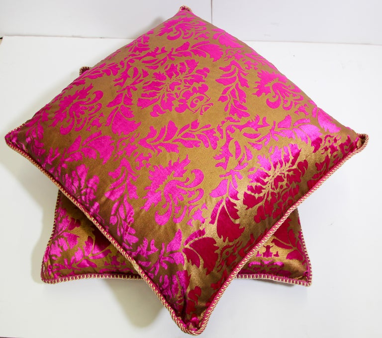 Moroccan Oversized Pink and Gold Floor Pillow Cushion For Sale 8