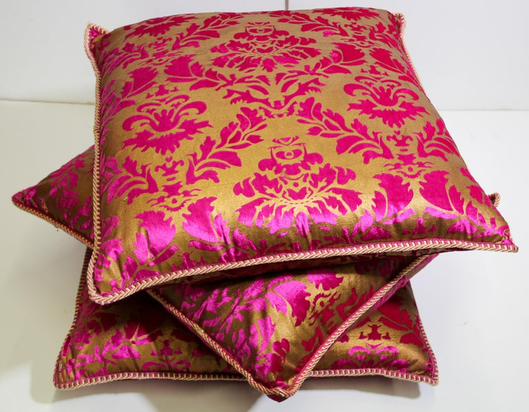 Moroccan Oversized Pink and Gold Floor Pillow Cushion For Sale 9