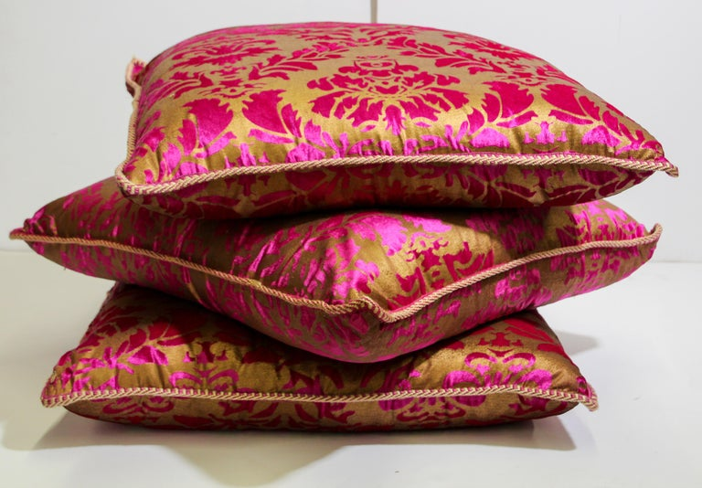 Moroccan Oversized Pink and Gold Floor Pillow Cushion For Sale 10