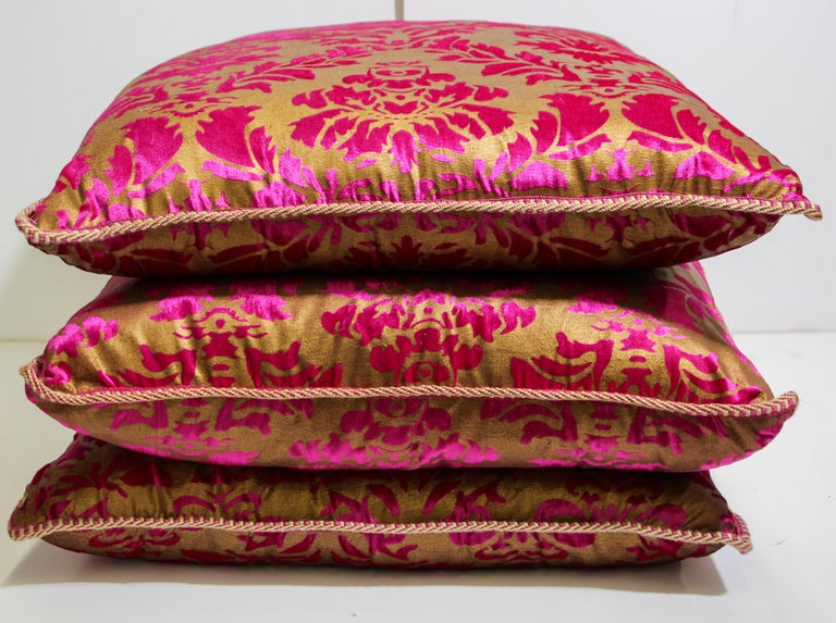 Moroccan Oversized Pink and Gold Floor Pillow Cushion For Sale 12