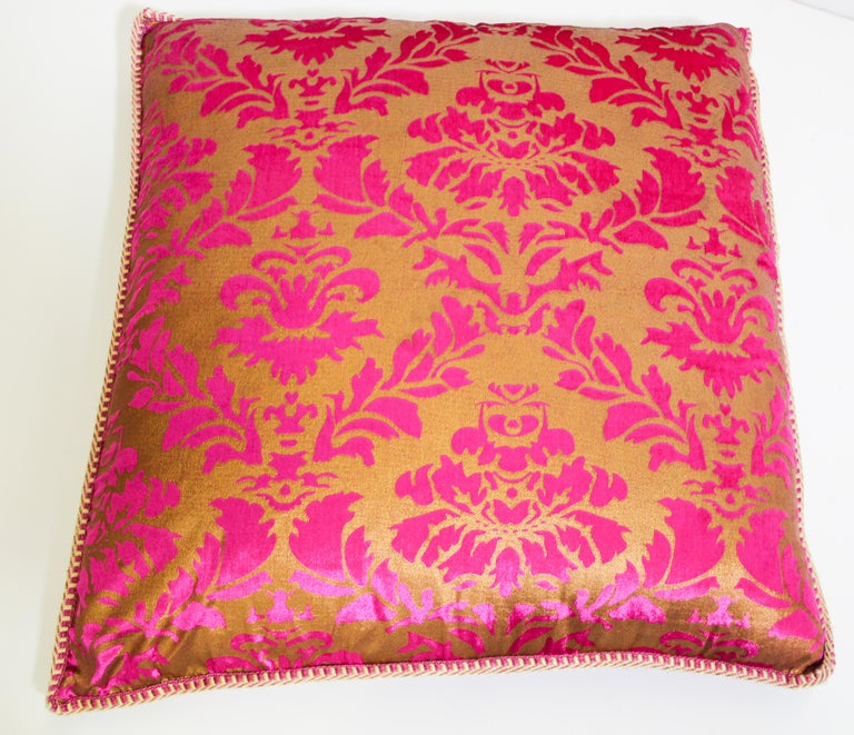 Oversized silk square pink and gold floor seat pillow. Handcrafted from silk velvet cut fabric, these floor seat cushions are great to use in kids room or around your yoga Bohemian or Moroccan room or for your pet. Large oversized: 24