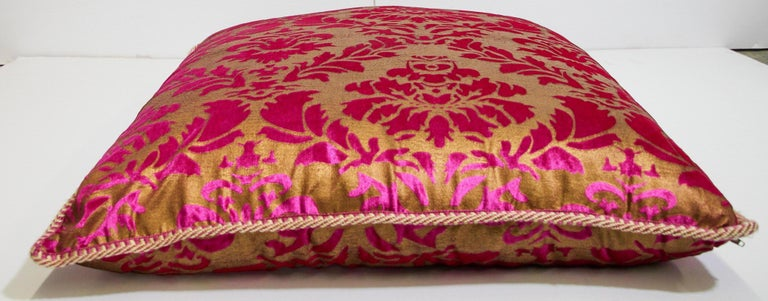 Bohemian Moroccan Oversized Pink and Gold Floor Pillow Cushion For Sale