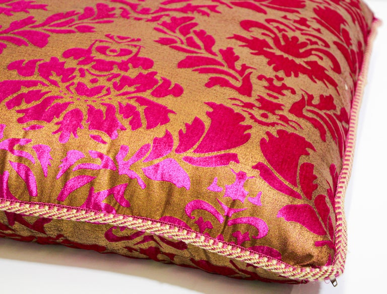 Hand-Crafted Moroccan Oversized Pink and Gold Floor Pillow Cushion For Sale