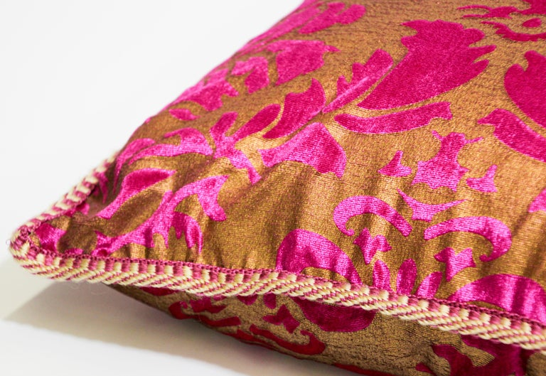 20th Century Moroccan Oversized Pink and Gold Floor Pillow Cushion For Sale
