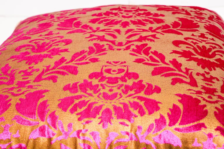 Silk Moroccan Oversized Pink and Gold Floor Pillow Cushion For Sale