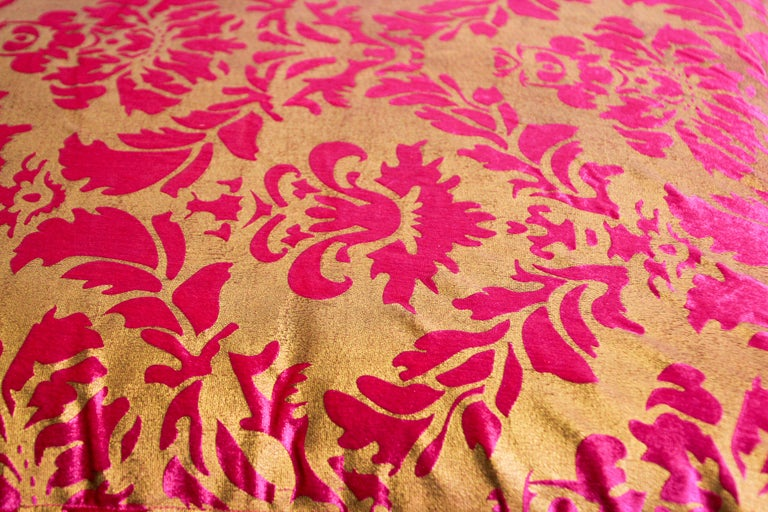 Moroccan Oversized Pink and Gold Floor Pillow Cushion For Sale 1