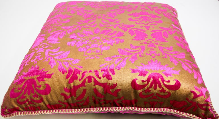 Moroccan Oversized Pink and Gold Floor Pillow Cushion For Sale 2