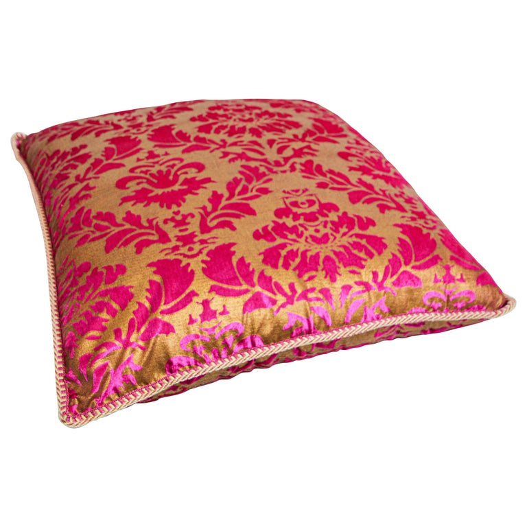 Moroccan Oversized Pink and Gold Floor Pillow Cushion For Sale