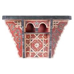 Moroccan Painted Wood Wall Shelf or Bracket