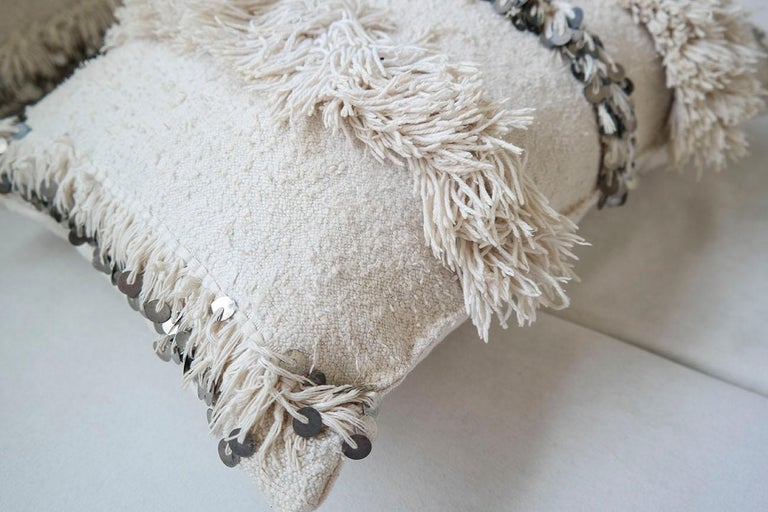 Bohemian Moroccan Pillow Made from a Vintage Wedding Blanket, Berber Handira with Sequins For Sale