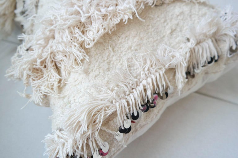 Woven Moroccan Pillow Made from a Vintage Wedding Blanket, Berber Handira with Sequins