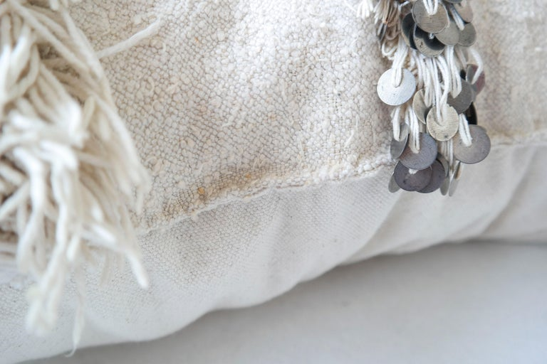 Late 20th Century Moroccan Pillow Made from a Vintage Wedding Blanket, Berber Handira with Sequins For Sale