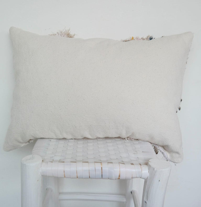 Wool Moroccan Pillow Made from a Vintage Wedding Blanket, Berber Handira with Sequins For Sale