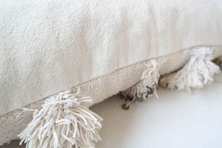 Moroccan Pillow Made from a Vintage Wedding Blanket, Berber Handira with Sequins For Sale 2