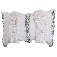 Moroccan Pillow Made from a Vintage Wedding Blanket, Berber Handira with Sequins