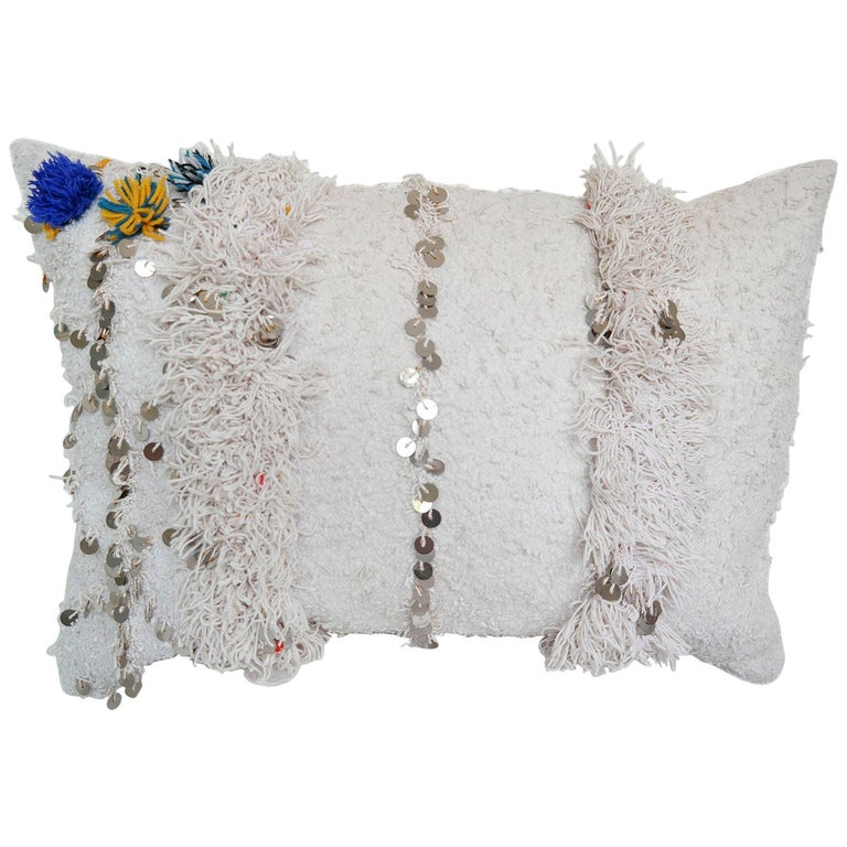 Moroccan Pillow Made from a Vintage Wedding Blanket, Berber Handira with Sequins For Sale