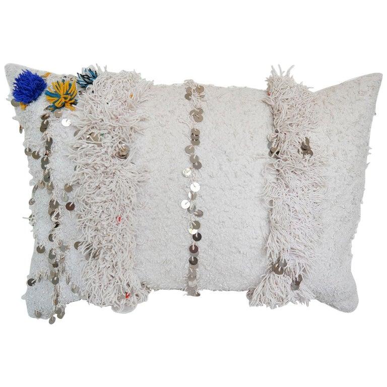 Moroccan Wedding Blanket.Moroccan Pillow Made From A Vintage Wedding Blanket Berber Handira With Sequins