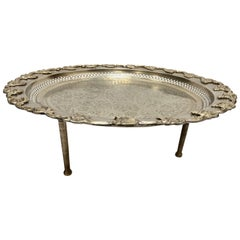 Moroccan Polished Round Footed Silvered Tray with Brass
