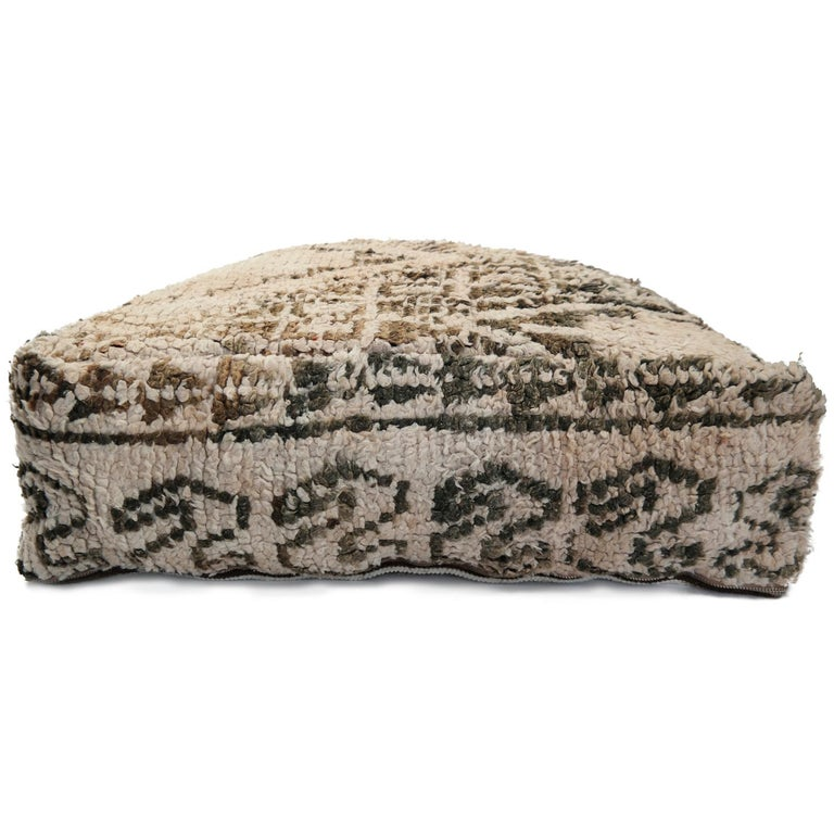 Hand-Knotted Moroccan Pouf Natural Floor Cushion Morocco Ottoman For Sale