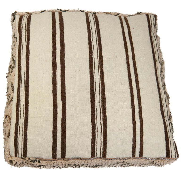 Moroccan Pouf Natural Floor Cushion Morocco Ottoman In Good Condition For Sale In Zaandam, NL