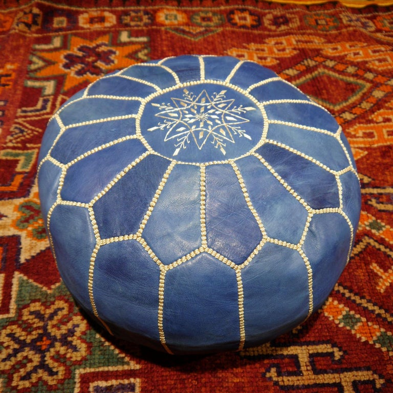 Tribal Moroccan Pouf Ottoman Handmade Jeans or Navy Blue Leather For Sale