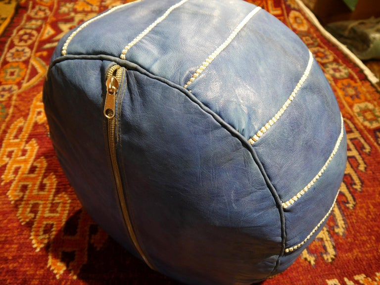 Hand-Crafted Moroccan Pouf Ottoman Handmade Jeans or Navy Blue Leather For Sale