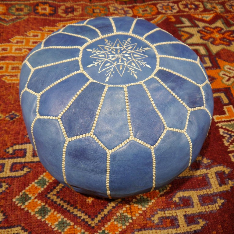 Moroccan Pouf Ottoman Handmade Jeans or Navy Blue Leather For Sale 1