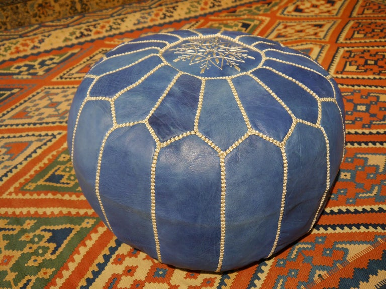 Moroccan Pouf Ottoman Handmade Jeans or Navy Blue Leather For Sale 3