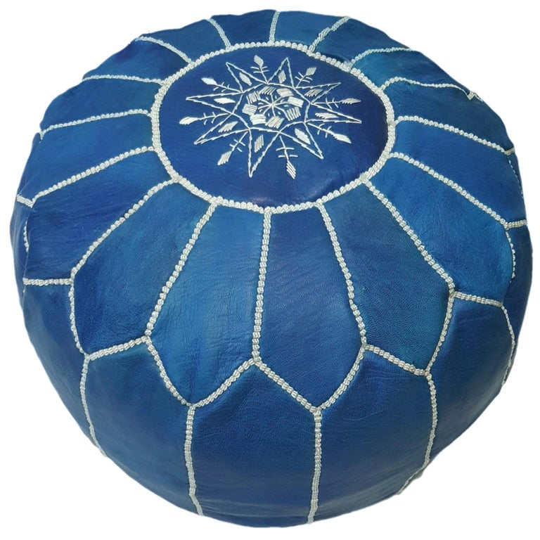 Moroccan Pouf Ottoman Handmade Jeans or Navy Blue Leather For Sale