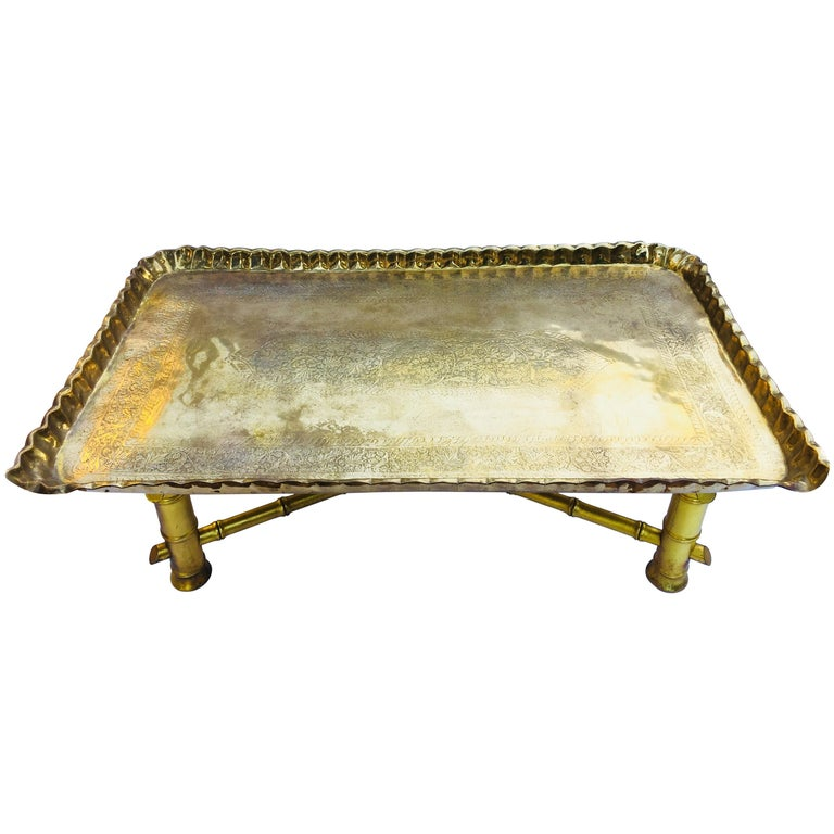 Moroccan Rectangular Brass Tray Coffee Table For Sale At