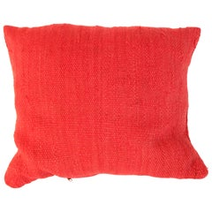 Moroccan Red Berber Pillow Cut from a Vintage Tribal Kilim Rug