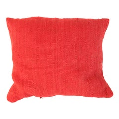 Moroccan Red Berber Pillow Cut from a Vintage Tribal Stripes Rug