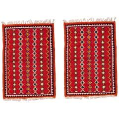 Moroccan Red Small Rug, a Pair