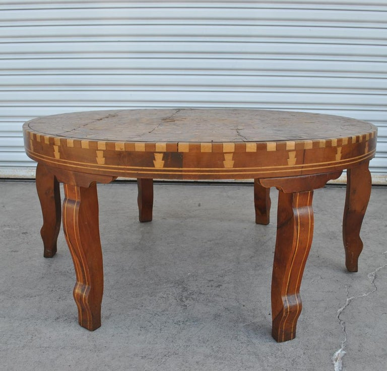 Moorish Moroccan Round Coffee Table Inlaid Marquetry For Sale
