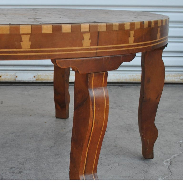 Fruitwood Moroccan Round Coffee Table Inlaid Marquetry For Sale
