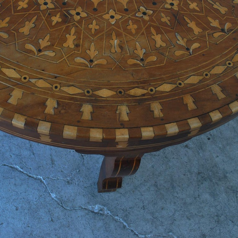 Moroccan Round Coffee Table Inlaid Marquetry For Sale 1