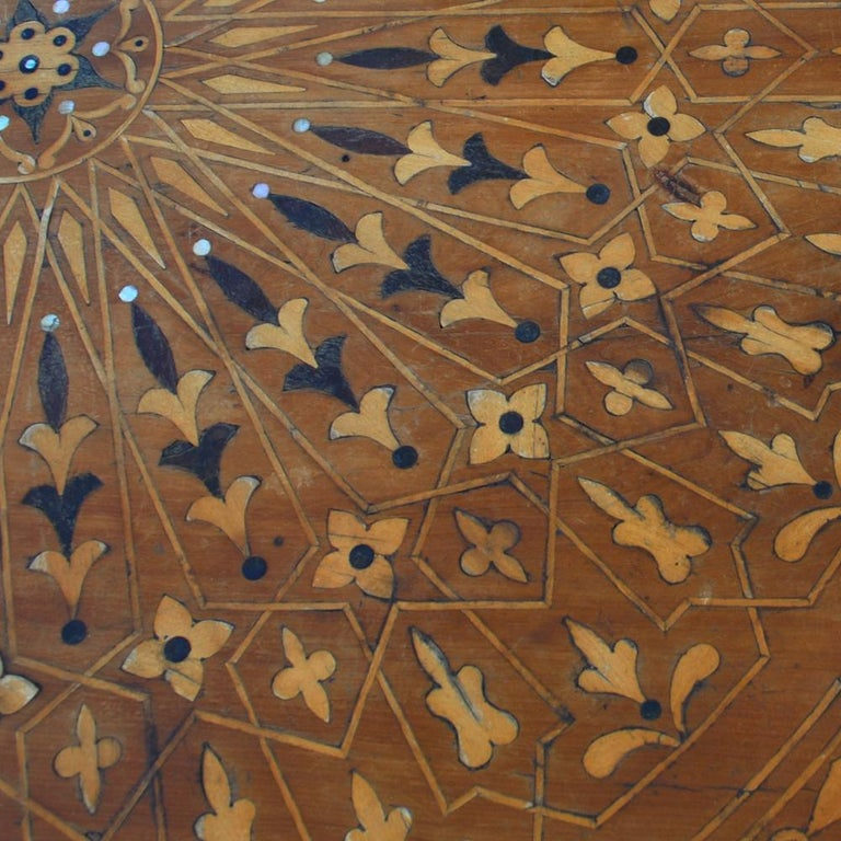 Moroccan Round Coffee Table Inlaid Marquetry For Sale 3